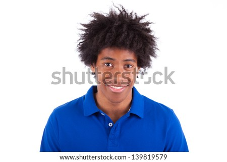 Close up portrait of a young african american man, isolated on white background - Black people - stock photo