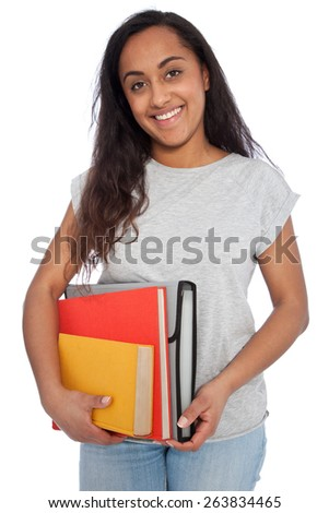 Close up Portrait of a Young Asian Indian Girl Holding Books and Document Organizer While Looking at the Camera. Isolated on White Background.
