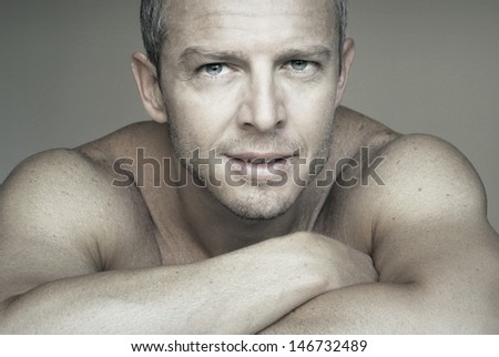 Close up portrait of a young attractive man  - stock photo