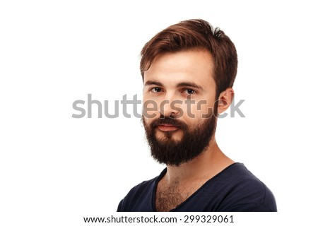 Close-up Portrait of a young bearded man isolated on white background