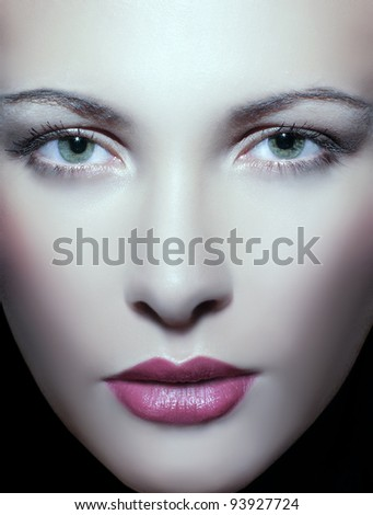 close up portrait of a young beautiful woman - stock photo