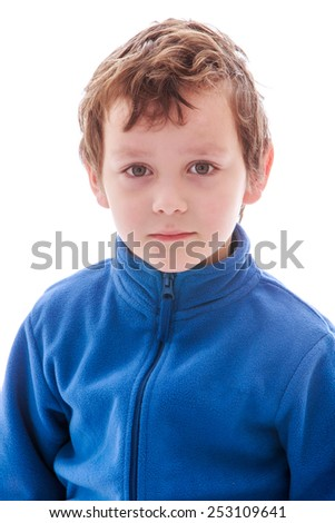 close-up portrait of a young boyIsolated on white.