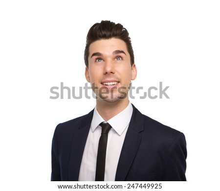 Close up portrait of a young business man smiling on isolated white background  - stock photo