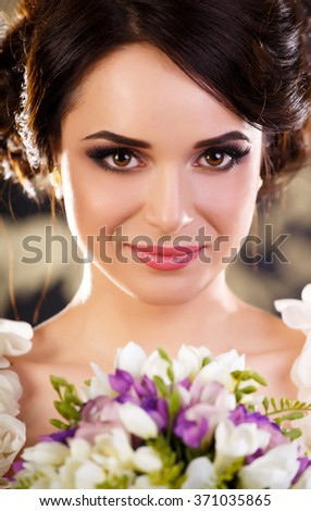 Close up portrait of a young girl  - stock photo