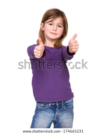 Close up portrait of a young girl showing thumbs up on isolated white background  - stock photo