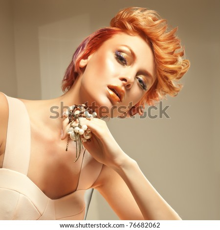 Close-up portrait of a young lady - stock photo
