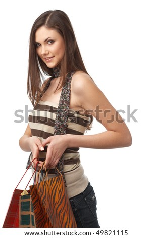 Close up portrait of a young smiling woman with bags - stock photo