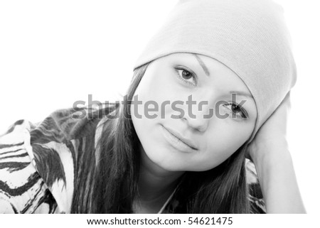 close up portrait of a young woman isolated on white - stock photo