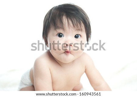 close up portrait of adorable baby  - stock photo