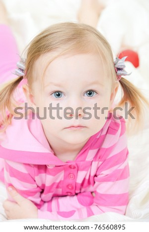 Close up portrait of adorable little girl - stock photo