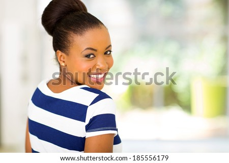 close up portrait of african american woman - stock photo