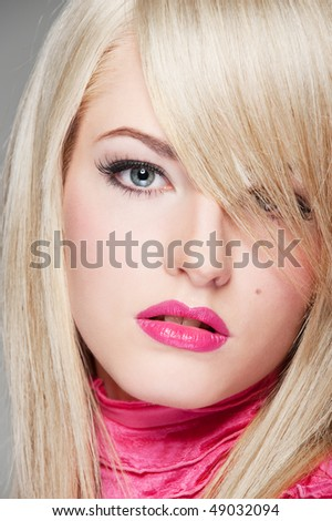 close-up portrait of alluring young woman - stock photo