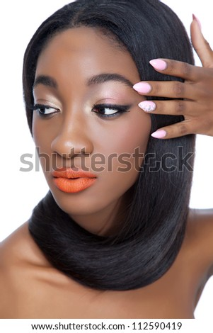 Close up portrait of an African woman with beautiful hair - stock photo
