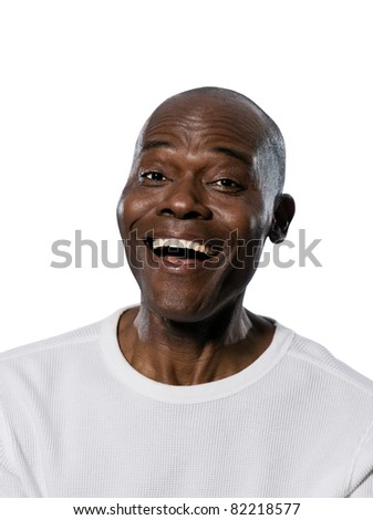 Close-up portrait of an afro American laughing man in studio on white isolated background - stock photo