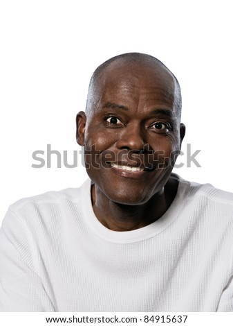 Close-up portrait of an Afro American man smiling in studio on white isolated background - stock photo