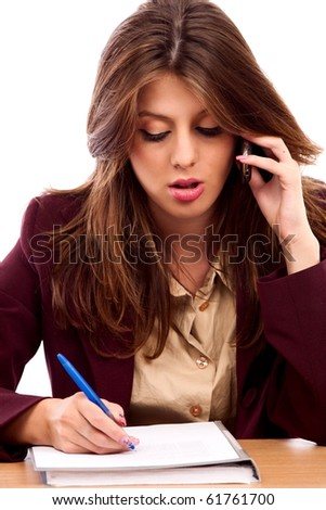 Close up portrait of an attractive businesswoman writing a contract - stock photo