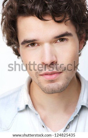 Close up portrait of an attractive man - stock photo