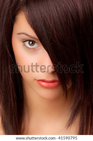 Close-up portrait of an attractive woman. - stock photo