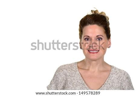 Close up Portrait of an Beautiful Mature Woman  - stock photo