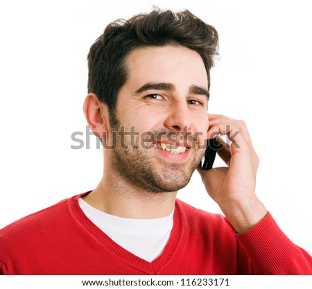 Close up portrait of an handsome man talking at the cell phone, isolated on white background - stock photo