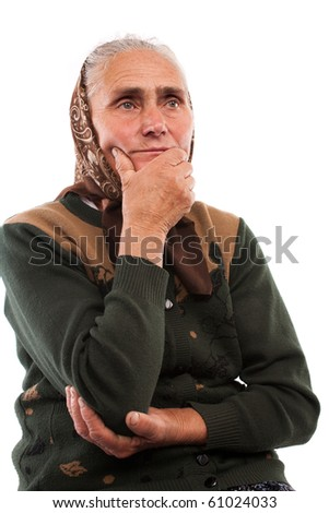 Close up portrait of an old woman isolated on white background - stock photo