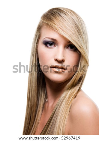 Close-up portrait of an Young attractive woman with beauty straight long blond hair - stock photo