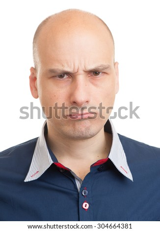 close up portrait of Angry bald man. Isolated