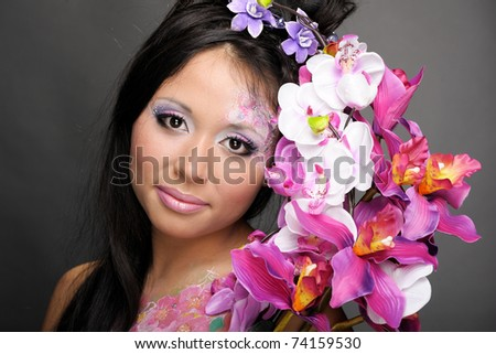 Close-up portrait of asian beauty girl with flowers