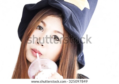 close up portrait of Asian woman were black hat and drink ice coffee , white isolate background - stock photo