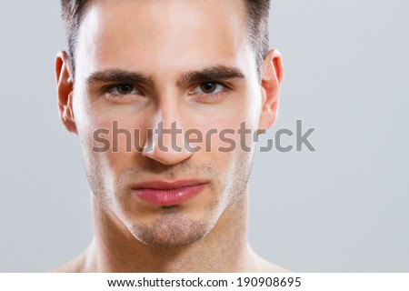 Close up portrait of attractive male,Attractive male - stock photo