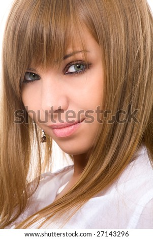 close-up portrait of attractive woman - stock photo