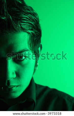 Close up portrait of attractive young Asian Filipino man. - stock photo