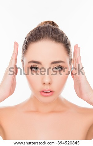 Close up portrait of attrective beautiful model demonstrating her palms - stock photo