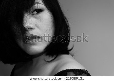 Close up Portrait of beautiful asian woman with hairstyle and makeup monochrome