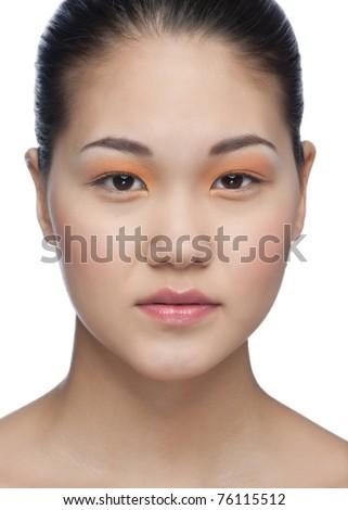 Close-up portrait of beautiful asian woman with makeup - stock photo