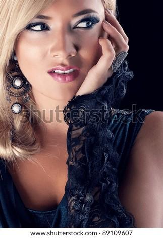 Close-up portrait of beautiful blond woman. Glamour lady - stock photo