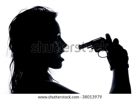 close-up portrait of beautiful girl pointing pistol at her open mouth - stock photo