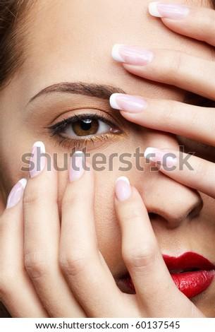 close-up portrait of beautiful girl's eye-zone - stock photo