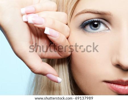 close-up portrait of beautiful girl's eye-zone make-up - stock photo