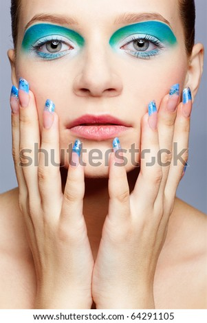 close up portrait of beautiful girl's make up