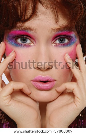 Close-up portrait of beautiful girl with crazy disco makeup - stock photo