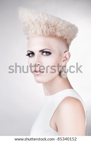 close-up portrait of beautiful pretty punk blond woman