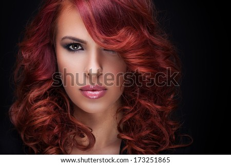 close up portrait of beautiful red hair women with great hairstyle  - stock photo