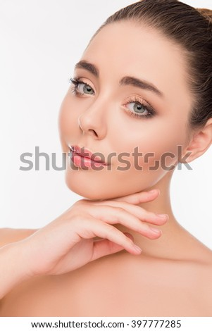 Close up portrait of beautiful woman with perfect skin - stock photo