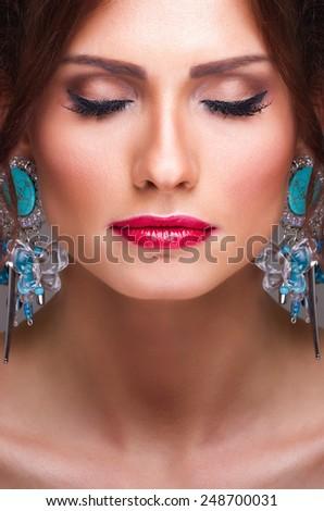 Close up portrait of beautiful woman. Young woman beauty shoot. - stock photo