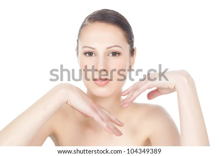 Close-up portrait of beautiful young brunette woman with healthy clean skin on a face - isolated