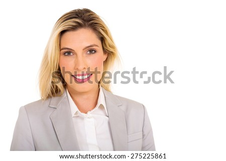 close up portrait of beautiful young businesswoman isolated on white - stock photo