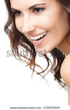 Close up portrait of beautiful young happy smiling woman, isolated over white background - stock photo