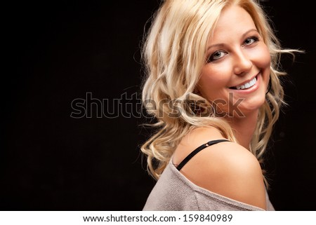 close up portrait of beautiful young model - stock photo