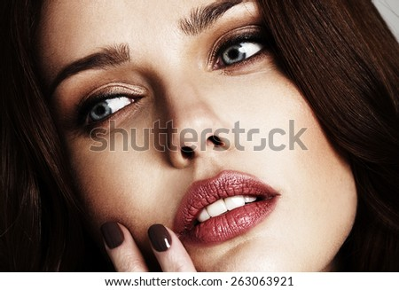 close-up portrait of beautiful young model - stock photo